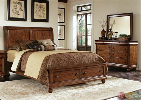 Rustic Traditions Cherry Storage Bedroom Furniture Set Bed Room Furniture