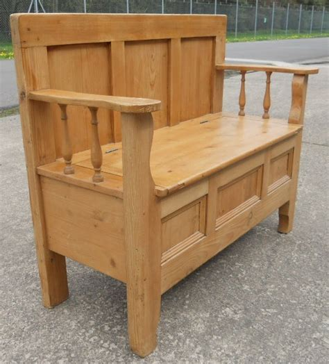 hall seat storage bench pine hall settle bench storage box seat sold
