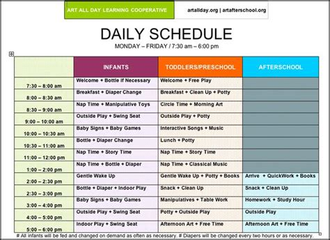 home daycare schedule template pictures of preschool daily routines arts afterschool