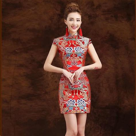 traditional chinese cheongsam dresses traditional chinese dress qipao red modern cheongsam mini