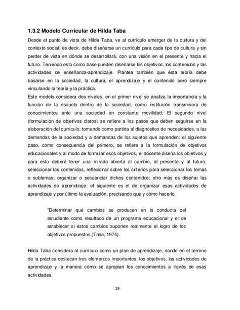 Criticas Al Modelo Curricular De Hilda Taba Dise 241 O Curricular Un Enfoque Hacia La Reflexi 243 N