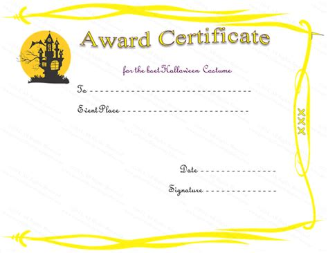 cer house haunted house award certificate template