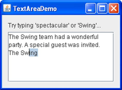 swing text area how to use text areas the java tutorials gt creating a