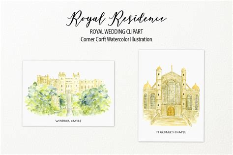Wedding Venue Clipart by Watercolor Royal Residence Illustration Royal Wedding