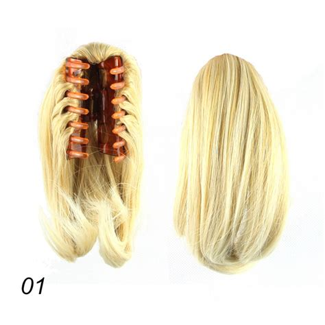 womens short hair clip on for fullness and ehight women clip in fake ponytail hair extension claw on hair