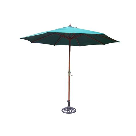 Patio Umbrella With Stand Hton Bay 9 Ft Steel Crank And Tilt Patio Umbrella In
