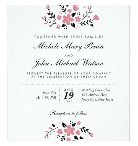 wedding invitation template 63 free printable word pdf