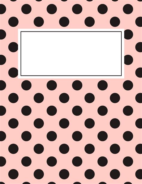 free printable pink and black polka dot binder cover