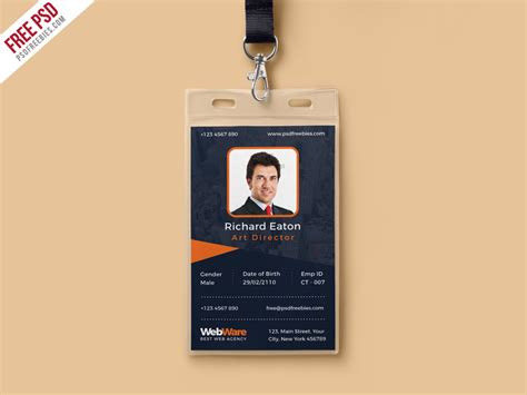 employee id card photoshop template vertical company identity card template psd psdfreebies