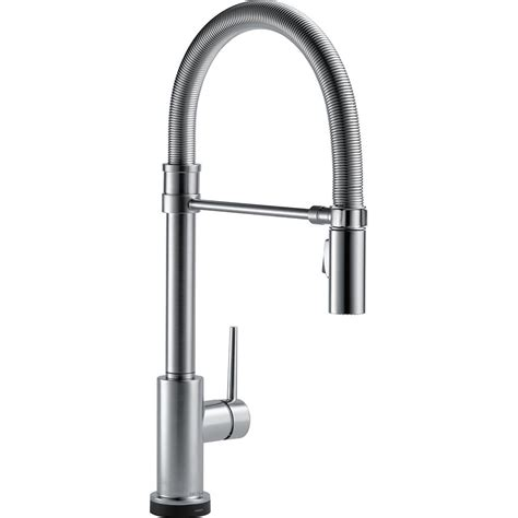 touch technology kitchen faucet delta trinsic pro single handle pull sprayer kitchen