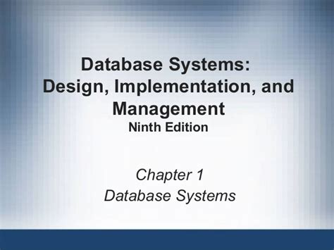 database systems design implementation management books fundamentals of database ppt ch01