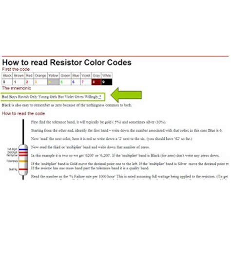 mnemonic phrase for the resistor color code 1million1shot mnemonic device