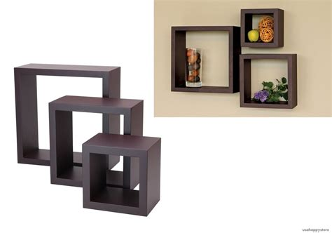 Floating Wall Shelves Wood Cube Set Of 3 Vintage Decorative Wall Bookshelves
