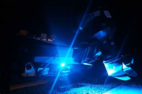 led lights for bass boats set of blue underwater led boat lights installed on