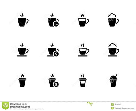 Coffee Cup And Tea Mug Icons On White Background. Stock Photos   Image: 38085503