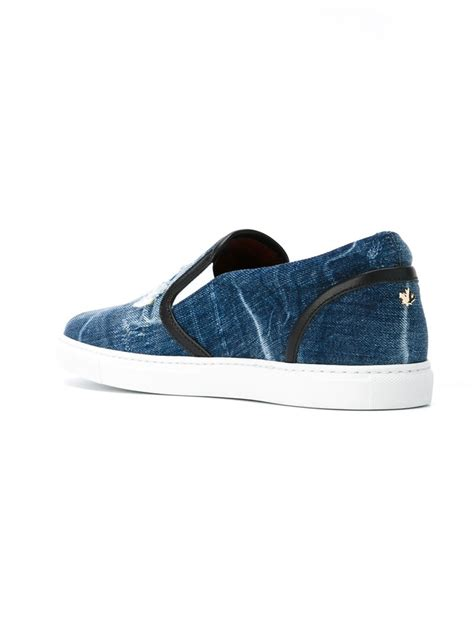 Slip On On19 Putih 2 lyst dsquared 178 tux denim slip on sneakers in blue