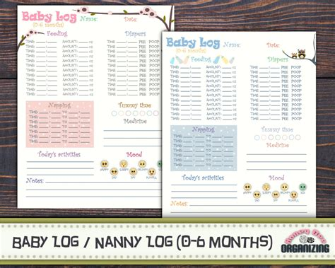 baby log book template baby log 0 6 months nanny log baby s day schedule