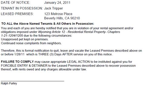 Breach Of Lease Agreement Letter Wyoming Notice To Quit For Breach Of Lease Ez Landlord Forms