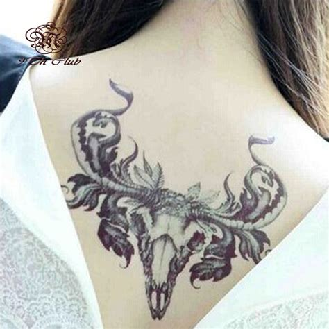 sexy women tattoos for men new antlers sticker back waterproof large temporary