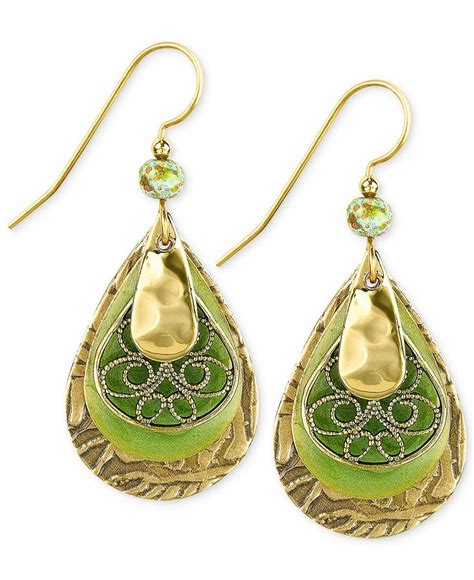 silver forest gold tone layered filigree teardrop earrings