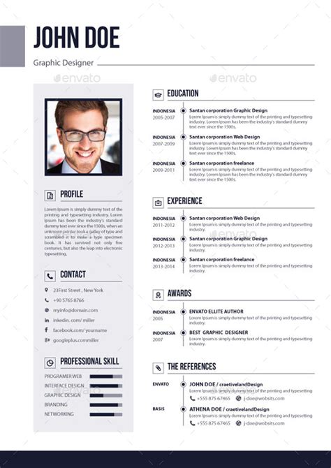 Resume 3 Pages by 3 Pages Resume Cv V 02 By Elitegraphic Graphicriver