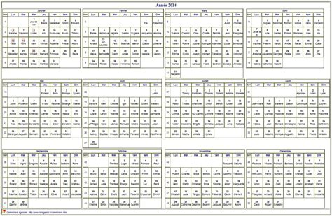 Calendrier Annuel 2014 Calendrier 2014 224 Imprimer Annuel Avec Les F 234 Tes Format