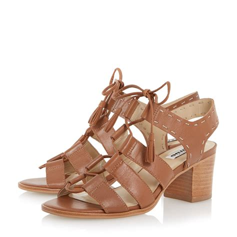 block heeled sandals dune ivanna ghillie lace block heel sandals in brown lyst