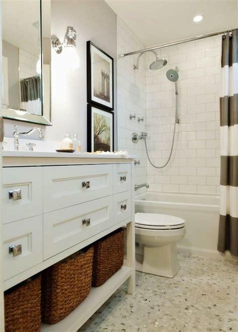 fun bright white  gray bathroom  west elm stripe