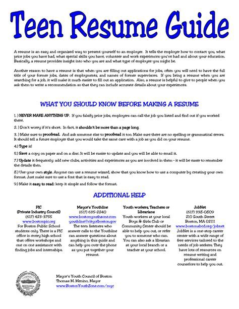 5 resume for teens sample sample resumes sample - How To Make A Cv For Teenagers