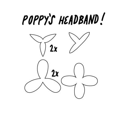 trolls template template for the flowers on poppy s headband trolls
