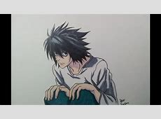 Drawing L from Death Note - YouTube L Death Note Drawing