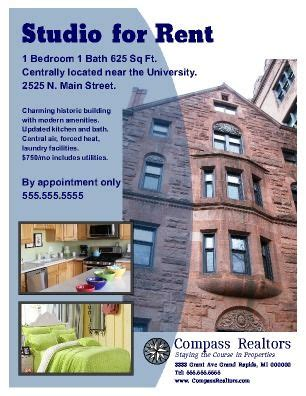 apartment rental flyer great for student housing