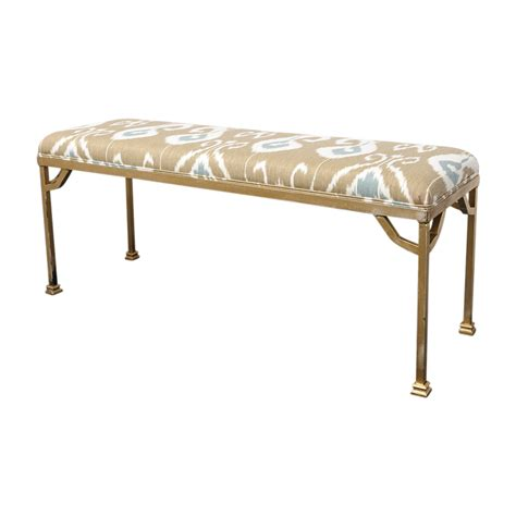 ikat bench mid century painted iron bench with new ikat fabric on