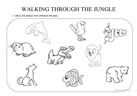 walking through the jungle worksheet free esl printable