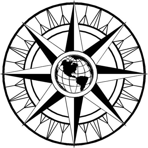 line drawing compass clipart best fancy compass rose cliparts co