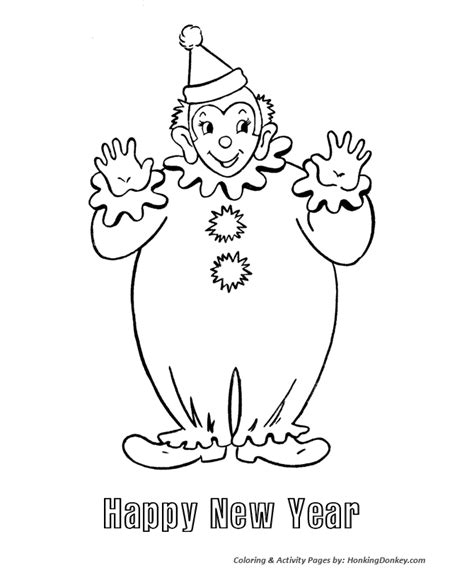 new year s day coloring pages clown happy new year