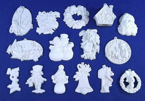 lot of 15 different paintable ceramic bisque christmas
