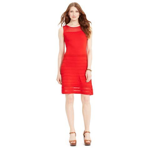 Ralph lauren Sheer yoke Sleeveless Dress in Red   Lyst