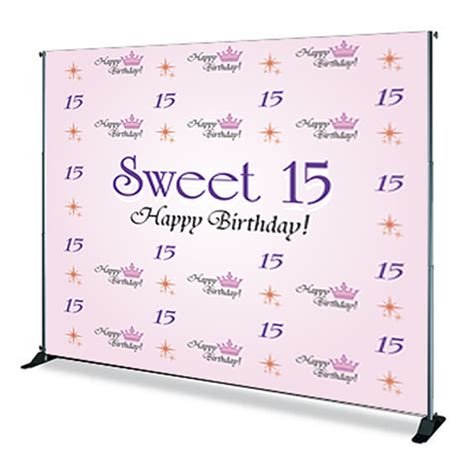 design banner sweet 17 step and repeat banner stands