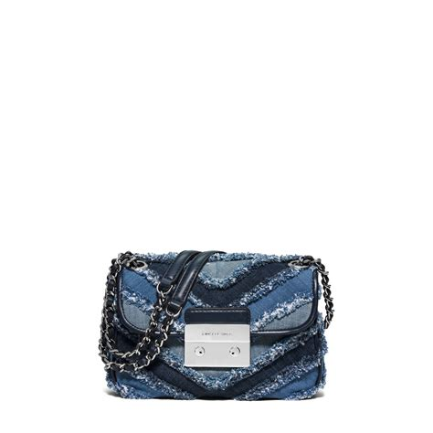 Michael Kors Sloan Denim Floral lyst michael kors sloan small denim chevron shoulder bag in blue