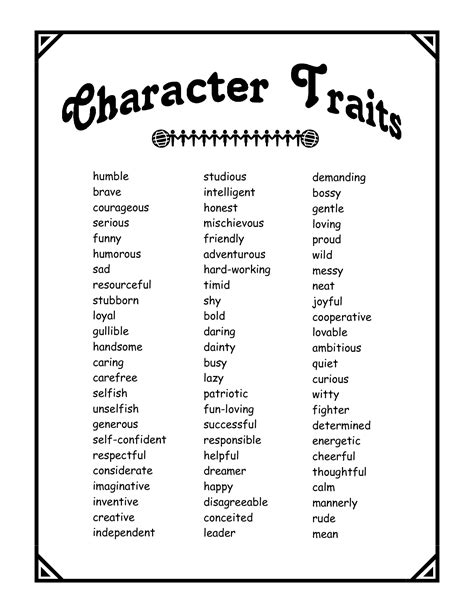 character traits pdf school character trait characteristics words and therapy