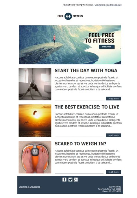 Free Email Templates Download Design Fitness Freedom Free Fitness Newsletter Templates