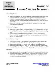 Simple Resume Objective Statements by Sle Resume Objective Statement Free Resume Templates