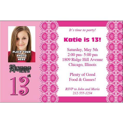 Invitation wording girly polka dots 13th birthday party invitation