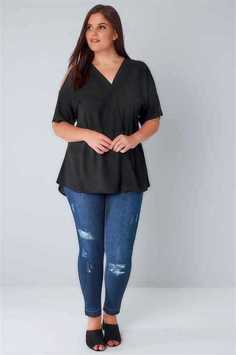 Sm Blouse Bugsize Wash Biru Blouse Size Wash Biru black cold shoulder wrap front blouse plus size 16 to 36