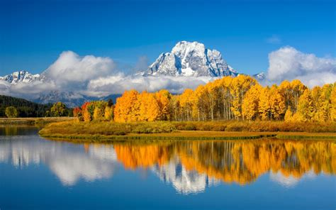 wallpaper lake trees mountains autumn usa grand teton