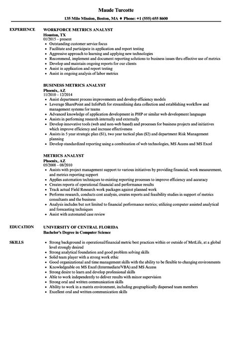Metrics Analyst Sle Resume by Metrics Analyst Resume Sles Velvet