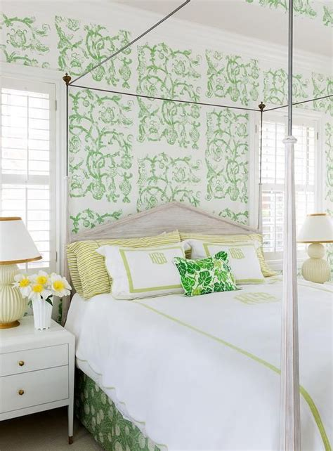 beautiful yellow  green bedroom features  canopy bed