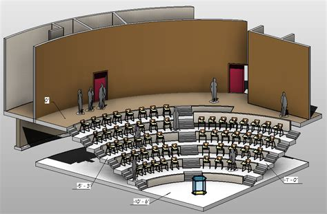 Lecture Theatre Section by Revit Lecture Theatre Presentation Plans All About Cad