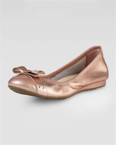 Imported Golden Flat Cap cole haan air bow ballerina flat gold metallic